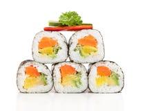 Morceaux délicieux de sushi Photographie stock