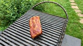 Morceaux délicieux de viande de côtelette d'agneau avec l'os étant grillé sous des flammes Nervures savoureuses sur le gril photographie stock libre de droits