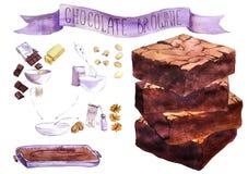 Morceaux d'aquarelle de 'brownie' de chocolat Image stock