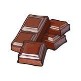 Morceaux de barre de chocolat foncée, illustration de vecteur Photographie stock