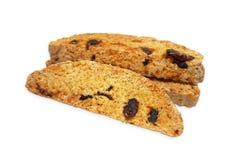 3 morceaux de biscotti sec de canneberge sur le fond blanc Photos libres de droits