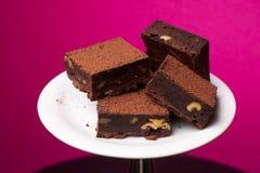 Morceaux de 'brownie' de chocolat Photographie stock