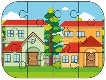 Morceaux de casse-tête de deux maisons illustration de vecteur