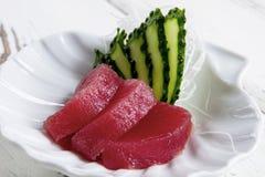 Morceaux de concombre et de poissons Photographie stock libre de droits
