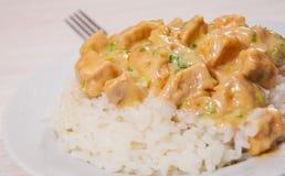 Morceaux de filet et de sauce au fromage de poulet avec du riz Photos libres de droits