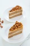 Morceaux de gâteau au café d'amande Photo libre de droits