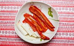 Morceaux de gril de poivron rouge Photo libre de droits