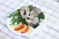 Morceaux de maquereau frais en épices avec des légumes Photos stock