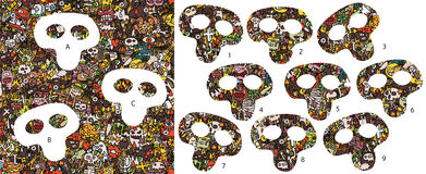 Morceaux de match de Halloween, jeu visuel Solution dans la couche cachée ! Image libre de droits