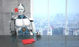 Morceaux de puzzle de pièce d'affaires de robot illustration libre de droits