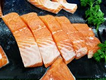 Morceaux de Salmon Meat Photographie stock libre de droits