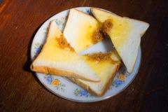 4 morceaux de sandwich avec du porc de Shreded et la crème de salade Photo libre de droits