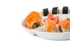 Morceaux de sushi d'isolement Images libres de droits