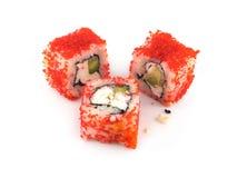 Morceaux de sushi d'isolement sur le plan rapproché blanc de fond Photographie stock libre de droits