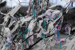 Morceaux de tissus attachés sur des branches d'arbre pour le souhait image libre de droits