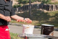 Morceaux de viande ficelés par chef Photos libres de droits