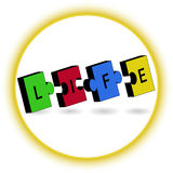 Morceaux denteux colorés avec des lettres de la VIE, cercle de connexion Image libre de droits