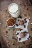Morceaux et écrous de chocolat de truffes de chocolat Image libre de droits