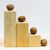 Morceaux géométriques en bois avec des noix Image libre de droits