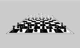 Morceaux noirs et blancs d'échecs sur l'échiquier Vecteur illustration de vecteur