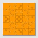 25 morceaux oranges de puzzle - puzzle - vecteur Photos libres de droits