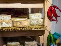 Morceaux ronds de fromage Photo stock