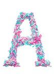 Morceaux roses et bleus de la lettre A de papier coloré Photo libre de droits