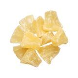 Morceaux secs d'ananas d'isolement sur le fond blanc Photographie stock