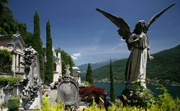 Morcote Cemetery. The exclusive and elaborate cemetery of the Swiss town of Morcote high above Lake Lugano Stock Image