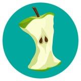 Morda o botão da Web do núcleo da maçã isolado no fundo azul ilustração stock