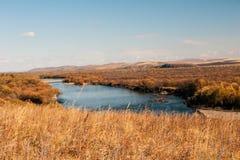 Mordaga autumn scenery. Inner Mongolia river in autumn of China Stock Photos