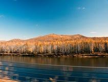 Mordaga autumn scenery. Inner Mongolia river in autumn of China Stock Photography