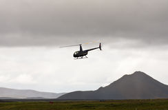 MORDALUR, ICELAND - AUGUST 31, 2015: Helicopter for medical help at remote Mordalur farm Stock Photography
