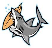 Mordedura del tiburón una tabla hawaiana ilustración del vector