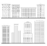 Morden building set. City skyline elements. Architectural set. Architecture set. Outline sketch drawing of building. City downtown structure collection Royalty Free Stock Photos