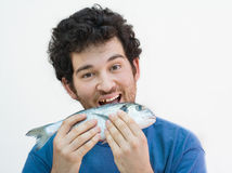 Mordendo um peixe imagens de stock