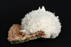Mordenite on Heulandite mineral on black background Stock Photo