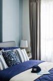 Mordern blue bedroom design Stock Photo