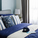 Mordern blue bedroom design Royalty Free Stock Photo