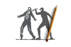 Morderstwo, przestępstwo, przestępca, ofiara, nożowy pojęcie Ręka rysujący odosobniony wektor ilustracja wektor