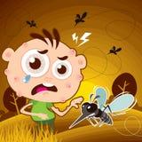 Mordida de mosquito no jardim ilustração do vetor