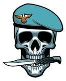 Mordida militar do crânio um punhal ilustração stock