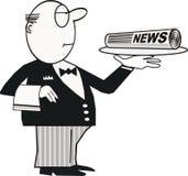 Mordomo com desenhos animados do jornal ilustração do vetor
