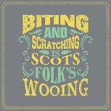 Mordre et rayer est les gens écossais courtisant - l'anglais indiquant - la conception d'affiche de style de vintage illustration stock