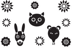 More animal heads and flower s. More animal heads and flower  shapes, owl, donkey and rat on white background Stock Photo