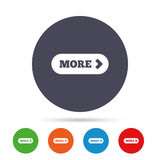 More with arrow sign icon. Details symbol. Website navigation. Round colourful buttons with flat icons. Vector Royalty Free Stock Photos