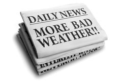 More bad weather daily newspaper headline. Daily news newspaper headline reading more bad weather Royalty Free Stock Photography