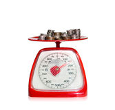 The More The Better. Coins on weight scale Stock Photography