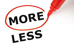 More or Less. Choosing More instead of Less. More selected with red marker stock photos