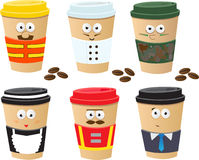 More Coffee Cups Characters. Cute vector set of 6 coffee cups characters. Eps10 Stock Images
